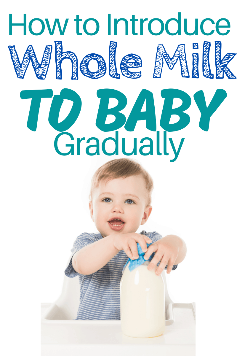 The Baby Whole Milk Transition doesn't have to be a struggle! Here are lots of different ways on how to start giving baby regular milk gradually! #baby #toddler #whentogivebabywholemilk