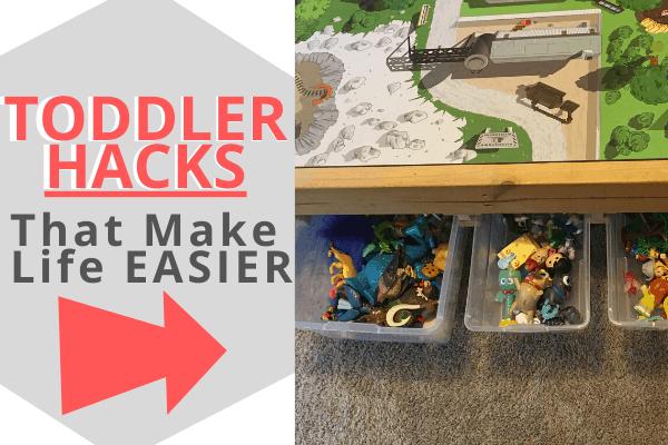 Toddler Hacks for making less messes, organization hacks, potty training hacks, and more! #babyhacks #toddler #toddlertips
